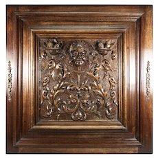 Opulent Hand Carved Antique Cabinet Door, Plaque in Neo-Renaissance Manner, Figural