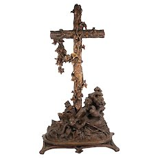 "Antique Hand Carved 18.5"" Tall Black Forest Holy Font, Crucifix, with Bird and Lizard"