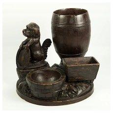 Antique Hand Carved Black Forest Smoker's Stand, Dog or Hound, Match & Cigar Holder