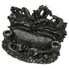 Unique Victorian Black Forest Carved Double Inkwell, Inkstand: Two Foxes, Lamb, Lizard & Snail !