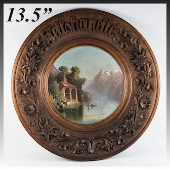 """Antique 13.5"""" Diameter Black Forest Breadboard, Hand Painted Scene in Center, Oil Painting"""