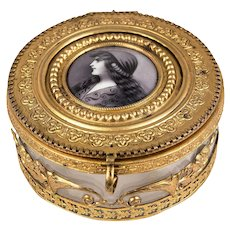 Antique French Powder Jar, Jewelry Casket, Dore Bronze With Glass Liner, Enamel Portrait