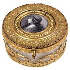 Antique French Powder Jar, Jewelry Casket, Dore Bronze With Glass Liner, Enamel Portrait