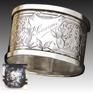 "Antique French Sterling Silver Napkin Ring, ""Souvenir"", Guilloche Style Decoration"