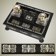 "Superb Antique Victorian Era Boulle Style 13"" Inkstand or Inkwell, Ebony & Ornate Mother of Pearl Inlay"