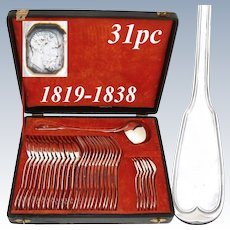 "Antique French 1819 Sterling Silver 31pc Dinner Sized Flatware Set, ""Filet"", in Original Chest"