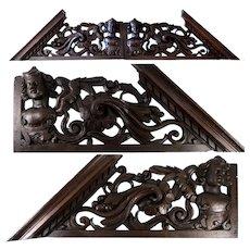 "Antique Victorian Era Carved 26.5"" Furniture, Architectural Cornice PAIR, Figural, 53"" Total Width"
