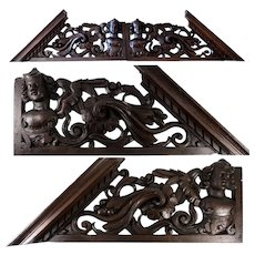 "Antique Victorian Era Carved 26.5"" Furniture, Architectural Cornice PAIR, Figural, 53"" Total Width"
