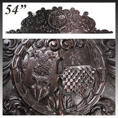 "Massive Antique Victorian Era Carved Walnut 54"" Furniture or Architectural Cornice, Armorial Style Medallion"