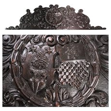 "Massive Antique Victorian Era Carved Walnut 54"" Furniture or Architectural Cornice, Armorial Style Medallion"