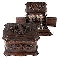 Antique Hand Carved Black Forest Liqueur & Cigar Tantalus, Server, 2 Decanters + Cordials