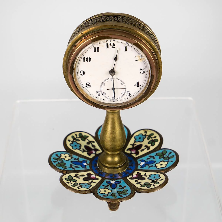 Antique French Champleve Enamel Desk Clock Stand Watch Jewelry Holder