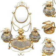 Antique French Gilt Ormolu & Cut Glass Double Inkwell, Overshot Glass Casket, Cheval Mirror