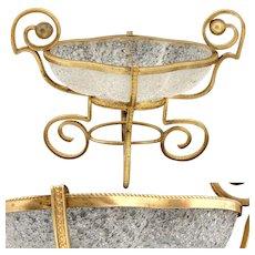 Antique French Napoleon III Vide Poche, Jewelry, Trinket or Bonbon Dish, Gilt Ormolu & Overshot Glass