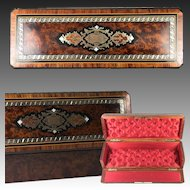 "Antique French Napoleon III Marquetry 12.75"" Jewelry or Gloves Box, Burled Veneers, Opulent Interior"