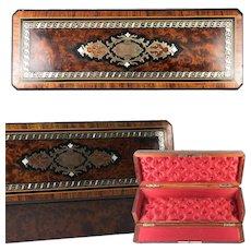 "Antique French Napoleon III Marquetry 12.75"" Jewelry or Gloves Box, Burled Veneers, Opulent Interior"