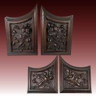 SET (4) Antique HC Wood Cabinet Panels, Neo-Renaissance, Gothic Cornucopia, Fruit, 2 pairs