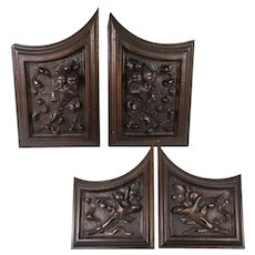 SET (4) Antique HC Wood Cabinet Panels, Neo-Renaissance, Gothic Cornucopia, Fruit, 2 pairs