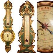 "Antique 18th C. Italian 38"" Wall Barometer, Gilt & Verdigris Carved Wood, Selon Torricelli"