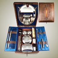 """Lovely Antique Victorian Era Tooled Leather Travel Vanity Case, Lots of Implements, """"LF"""" Monogram"""