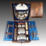 "Lovely Antique Victorian Era Tooled Leather Travel Vanity Case, Lots of Implements, ""LF"" Monogram"