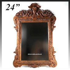 "Large Antique Victorian Era Carved 24"" Tall Wall Mirror, Ornate Vines, Cornucopia & Figural Bust"