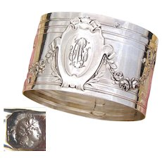 """Antique French Sterling Silver Napkin Ring, Bow & Ribbon, Floral Garland Decoration, """"CM"""" Monogram"""