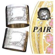 PAIR (2): Antique French .800 (nearly sterling) Silver Napkin Rings, Guilloche Style Decoration