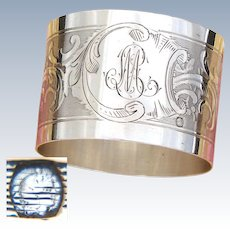 "Antique French .800 (nearly sterling) Silver Napkin Ring, Guilloche Style Decoration, ""ML"" Monogram"