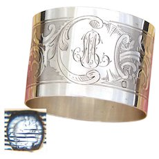 """Antique French .800 (nearly sterling) Silver Napkin Ring, Guilloche Style Decoration, """"ML"""" Monogram"""