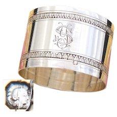 """Elegant Antique French Sterling Silver 2"""" Napkin Ring, Laurel Bands, """"YS"""" Monogram"""
