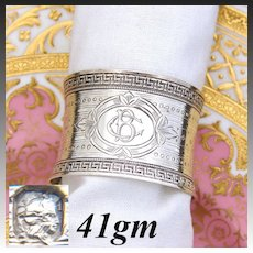 "Antique French Sterling Silver Napkin Ring, Ornate Geometric Pattern, ""BC"" Monogram"