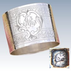 "Heavy Antique French Sterling Silver Napkin Ring, Baroque Style Decoration, ""AR"" Monogram"