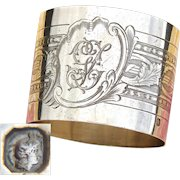 """Antique French Sterling Silver Napkin Ring, Classical Guilloche Style Decoration, """"GL"""" Monogram"""