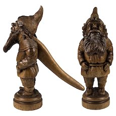 Delightful Antique to Vintage Black Forest Carved Nutcracker, Charming Gnome Figure