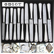 Elegant Antique French ODIOT Sterling Silver 12pc Table Knife Set, 2pc Setting for Six