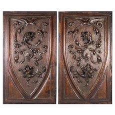 PR (2) Antique HC Wood Cabinet Panels, Neo-Renaissance, Gothic Griffen, Chimera