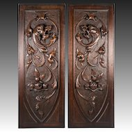 PAIR (2) Antique HC Wood Cabinet Panels, Neo-Renaissance, Gothic Griffen, Chimera