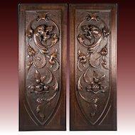 PAIR (2) Antique HC Wood Cabinet Panels, Neo-Renaissance, Gothic Griffen, Chimera