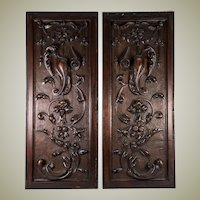 "PAIR Antique Victorian 25x10"" Carved Wood Architectural Furniture Door Panels, Neo-Renaissance"