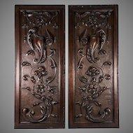 "PAIR Antique Victorian 25x10"" Carved Wood Architectural Furniture Door Panels, Neo-Renaissance"