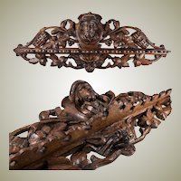 "Superb Black Forest 21.5"" Carved Oak, Wood Pipe Rack, Figural and with Cigars Carved - WOW!"