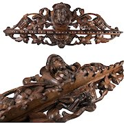 """Superb Black Forest 21.5"""" Carved Oak, Wood Pipe Rack, Figural and with Cigars Carved - WOW!"""