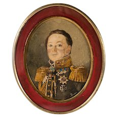 Antique Prussian Military Portrait Miniature, Watercolor on Card, in Frame, Medals, Iron Cross