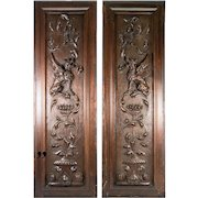 PAIR (2) Antique HC Wood Cabinet Panels, Neo-Renaissance, Gothic Griffen, Chimera, 32""