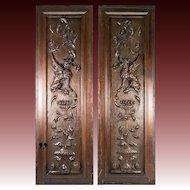 """PAIR (2) Antique HC Wood Cabinet Panels, Neo-Renaissance, Gothic Griffen, Chimera, 32"""""""