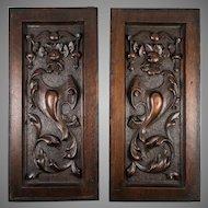 "PAIR Antique Victorian 13.75"" x 6.5"" Carved Wood Architectural Furniture Door Panels, Neo-Renaissance"