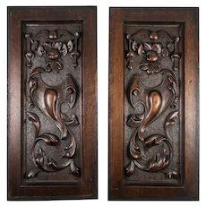 "PAIR Antique Victorian 13.75"" x 6.5"" Carved Wood Architectural Furniture Door Panels, Neo-Renaissance"
