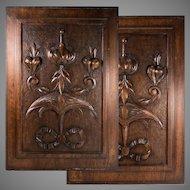 "PAIR Antique Victorian 21x15"" Carved Wood Architectural Furniture Door Panels, Neo-Renaissance"