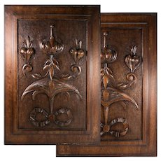 "PAIR Antique Victorian 21x15"" Carved Wood Architectural Furniture Door Panels, Neo-Renaissance"